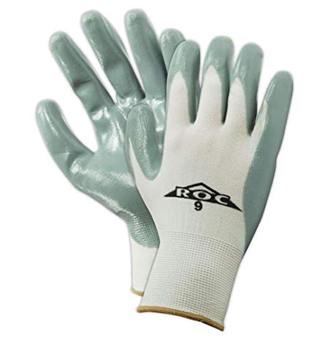 MAGID ROC GP160 Nylon Glove, Gray Nitrile Palm Coating, Knit Wrist Cuff, 9.5