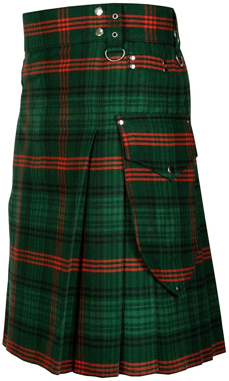 HOS Men's Scottish Modern Utility Kilt Pleated with Pockets Various Tartans 100% Acrylic Wool
