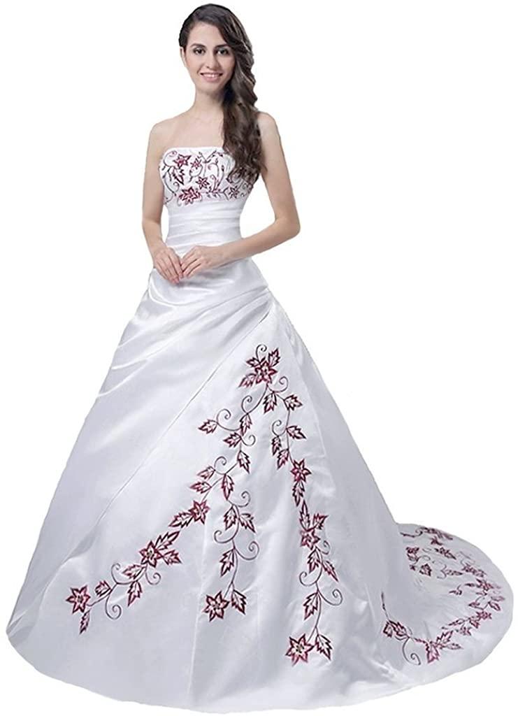 Snowskite Women's Strapless Satin Burgundy Embroidery Wedding Dress Bridal Gown