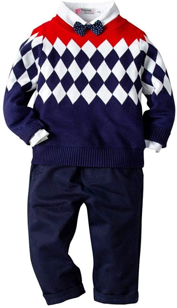Little Baby Boys 4PC Sweater Clothing Set, Sweater + Shirt + Bow + Pants