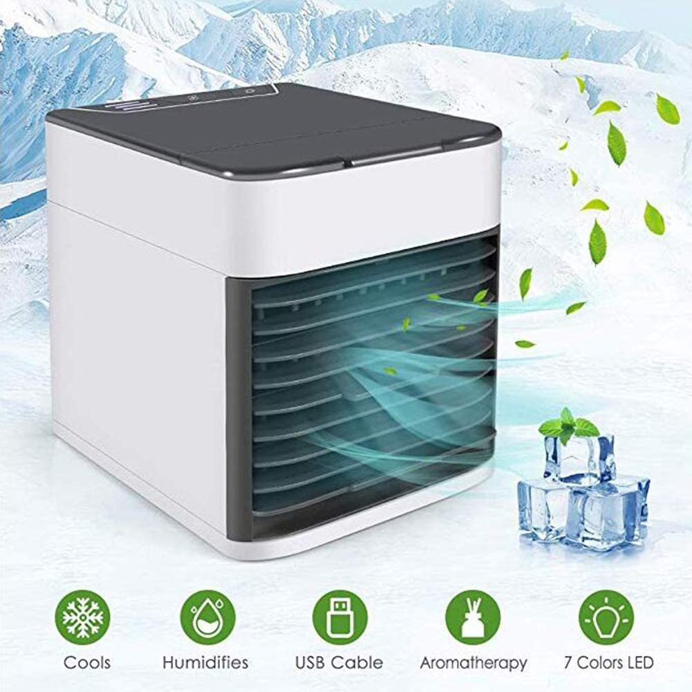 WEWE Portable Mini Air Cooler,evaporative Humidifies Purifies Adjustable Personal Cooling Fan for Home Office Mute Air Conditioner-a 14.5x16x17cm(6x6x7inch)