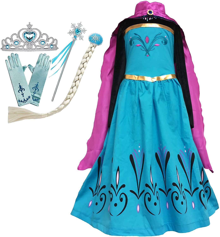 Cokos Box Girls Princess Dress Cape Tiara Crown Gloves Snowflake Wand Braid Wig Set