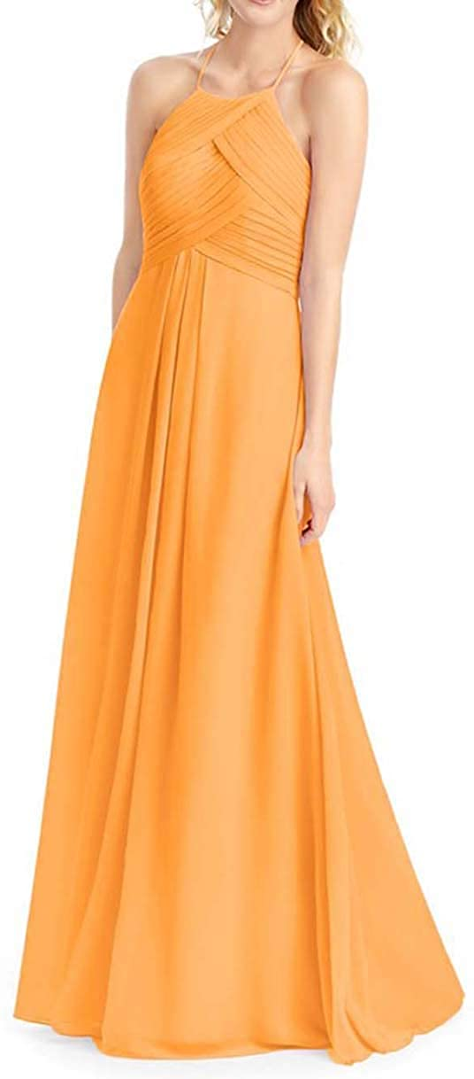 Martha Lia Pleated Chiffon Bridesmaid Dresses for Women Halter Neck Evening Gowns Maxi A-Line Party Dress