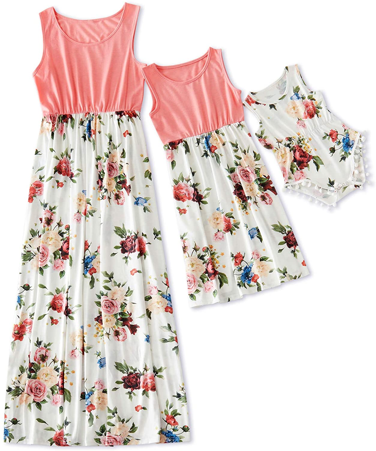 IFFEI Mommy and Me Dress Matching Outfits Floral Printed Sleeveless Tank Maxi Dress for Mother and Daughter