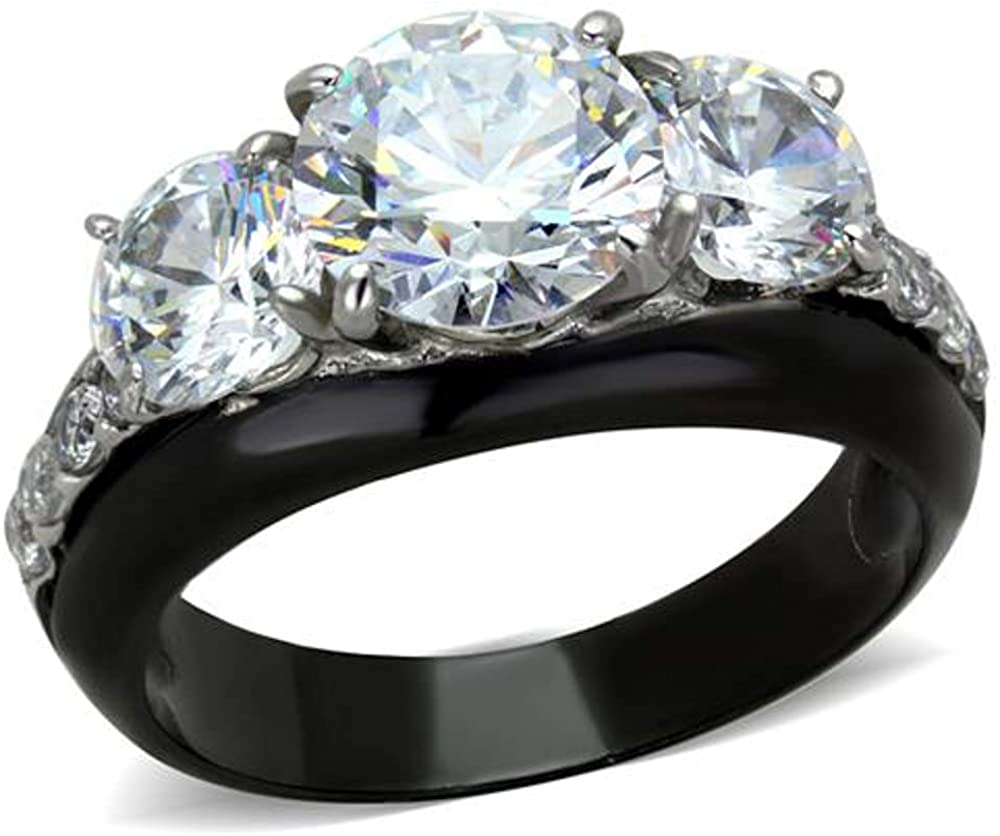 Marimor Jewelry 4.45 CT Round Cut AAA CZ Black Stainless Steel Engagement Ring Women's Size 5-10