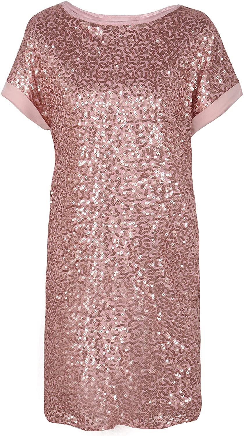 PrettyGuide Women's Sequin Cocktail Dress Loose Glitter Shift Party Tunic Dress