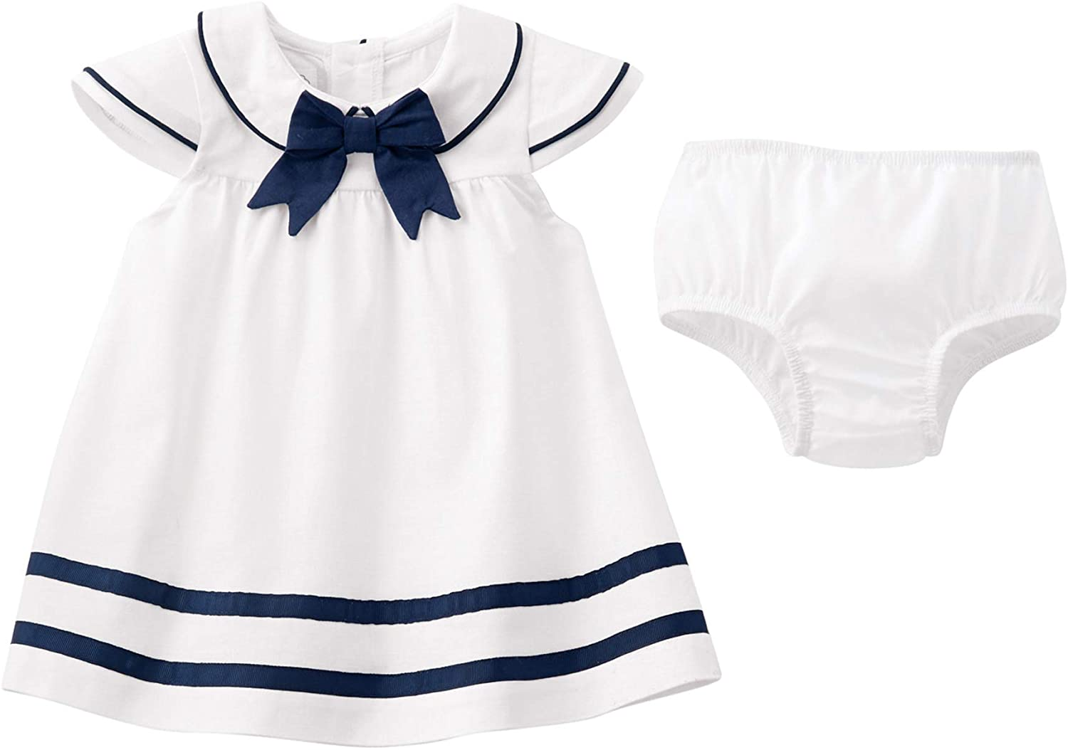 Mud Pie Baby Girls' Nautical Dress, White, 6-9 Months