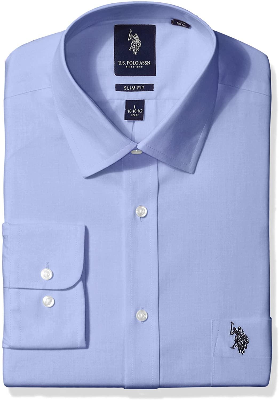 U.S. Polo Assn. Men's Slim Fit Solid Semi Spread Collar Dress Shirt