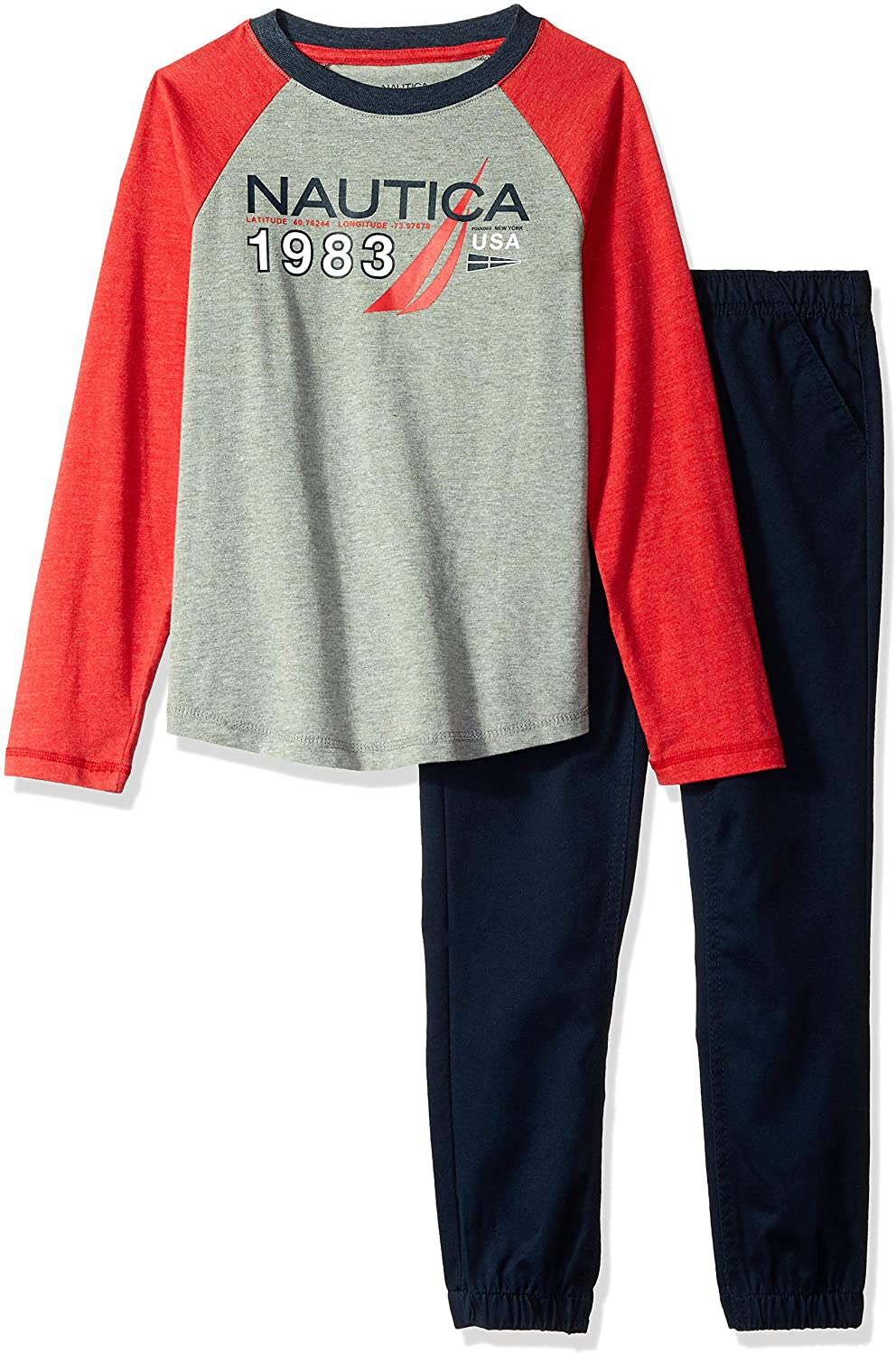 Nautica Kids & Baby 2 Pieces Tee Pants Set, Red/Gray, 4T