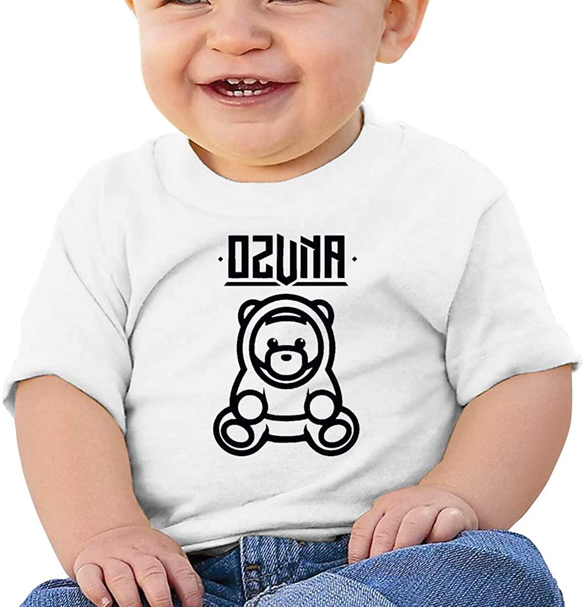 6-24 Months Boy and Girl Baby Short Sleeve T-Shirt Ozuna Bear Logo Original Minimalist Style White