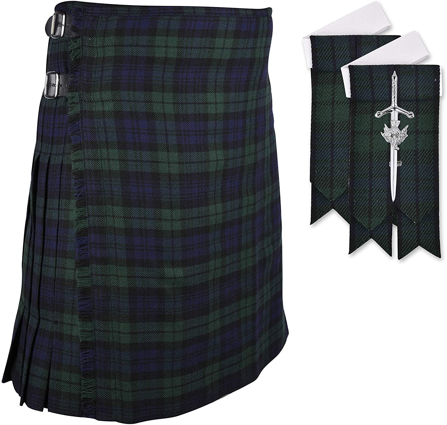 DSS Scottish Black Watch 8 Yard Tartan Kilt of Flashes & Kilt PIN