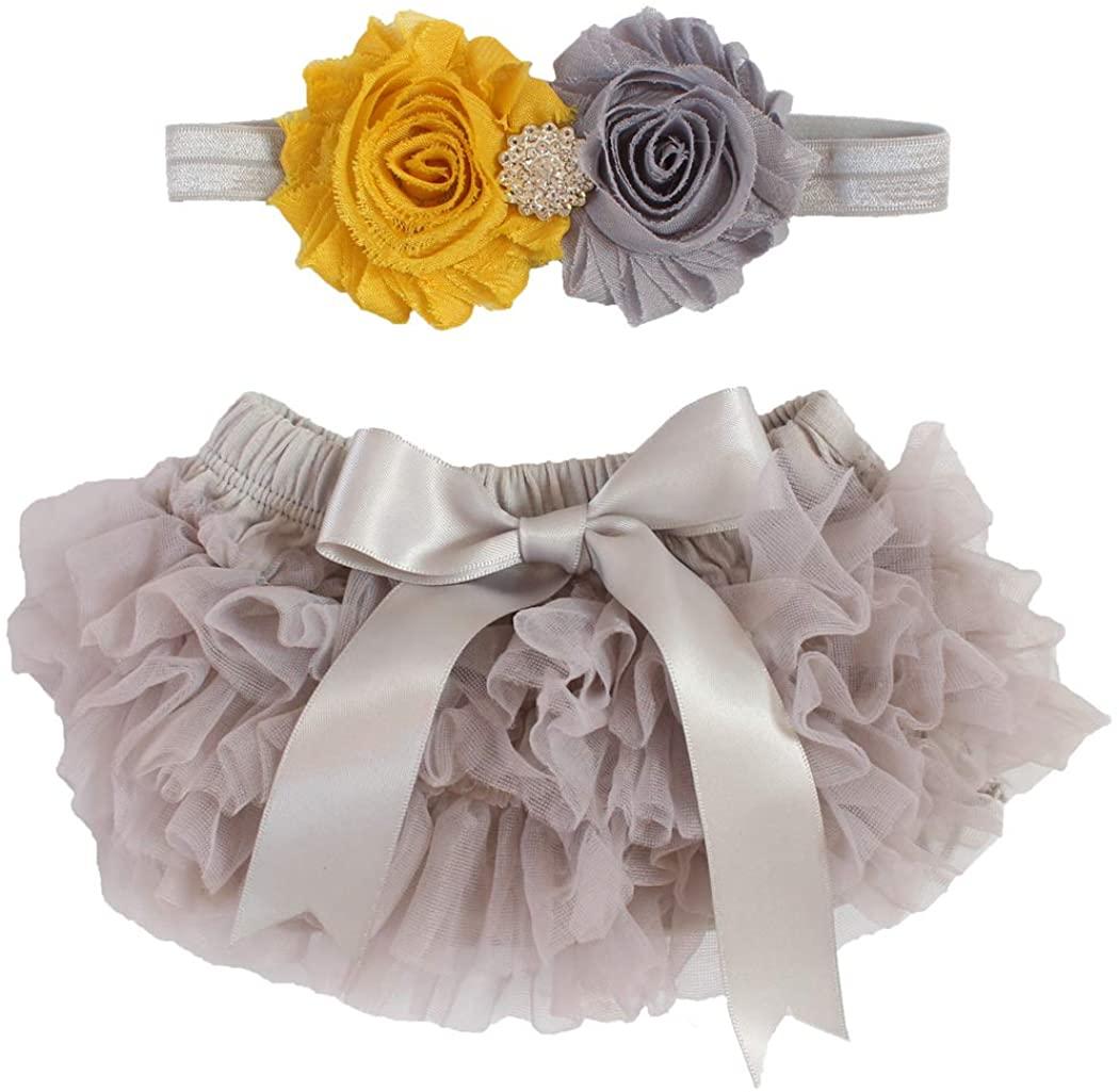 2pcs Newborn Girls Chiffon Bloomer & Headband Set Newborn Photo Prop Baby Girl Cake Smash Outfit Gray & Mustard Yellow