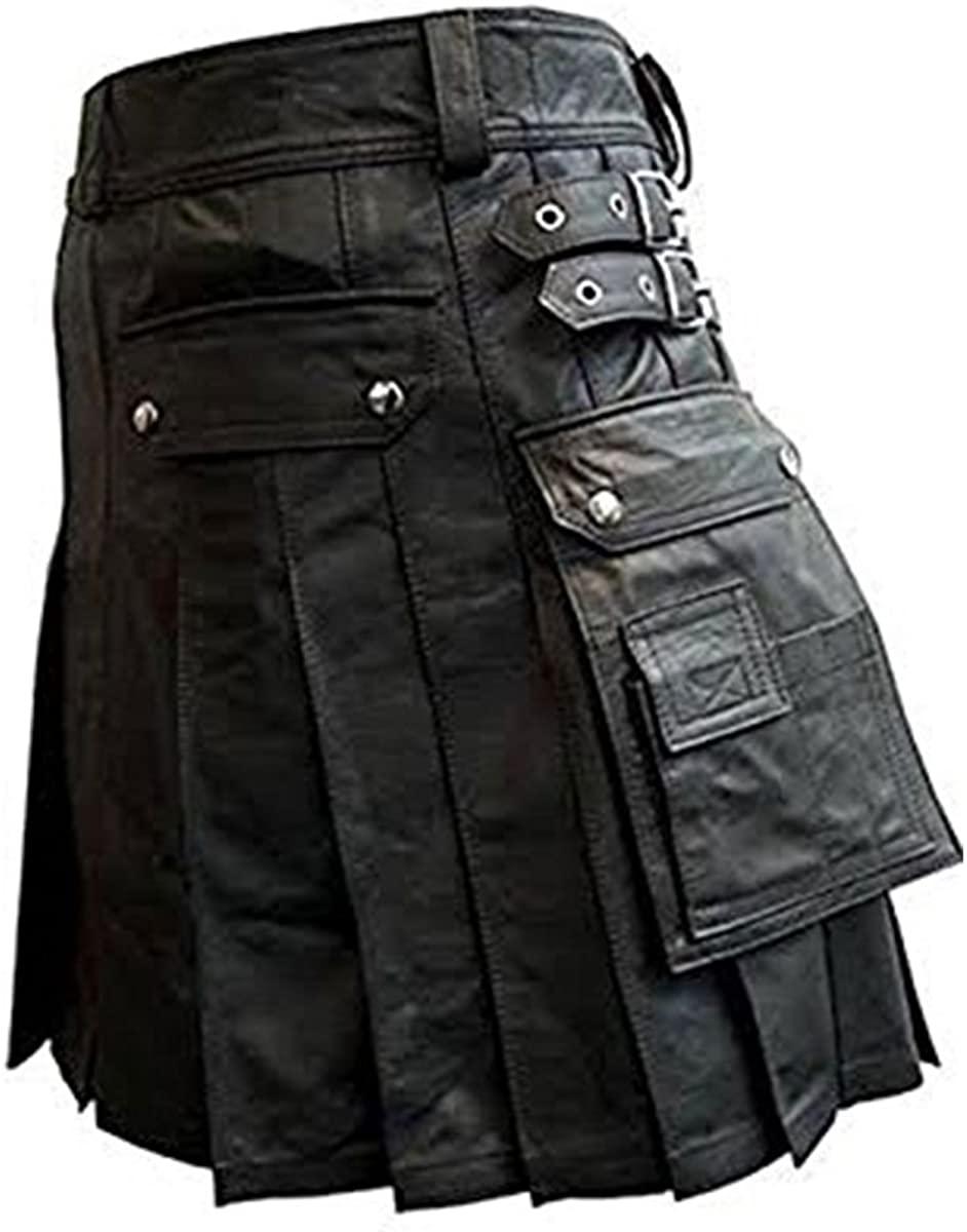Mens Black Leather Roman Gladiator Kilt LARP Heavy Duty Leather Kilt Gay Club Wear