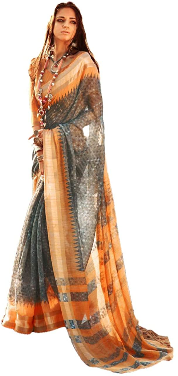 REKHA Linen Cotton Saree Party Wear Saree 241 Grey