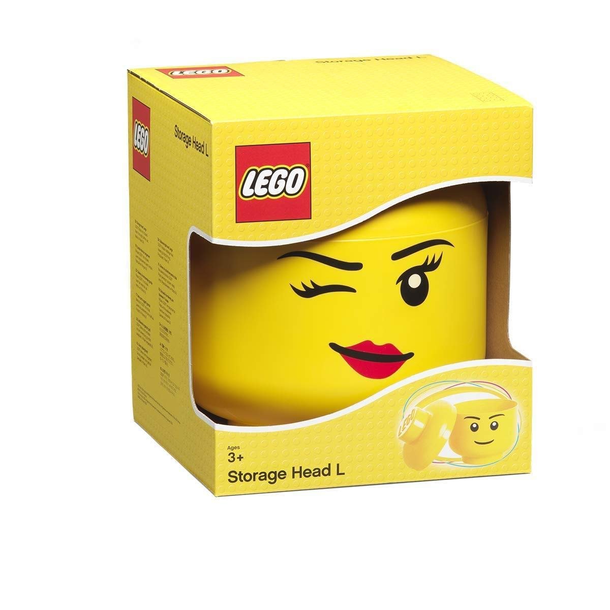 LEGO Storage Head, Large, Winking, 9-1/2 x 9-1/2 x 10-3/4 Inches, Yellow