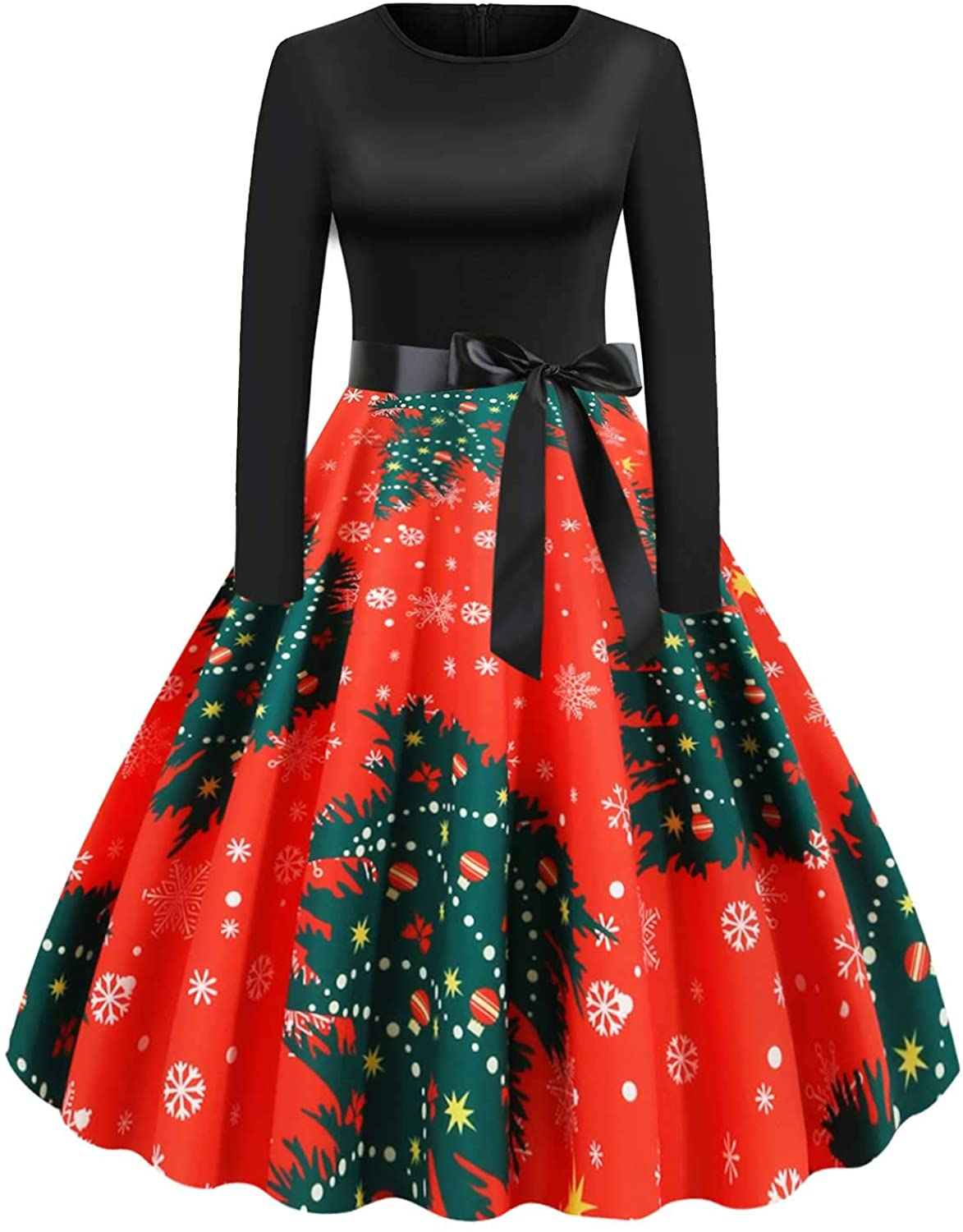 Holiday Cocktail Dress Women Long Sleeve Cute EIK Tree Print Dress A-line Vintage Swing Evening Party Dress Costumes