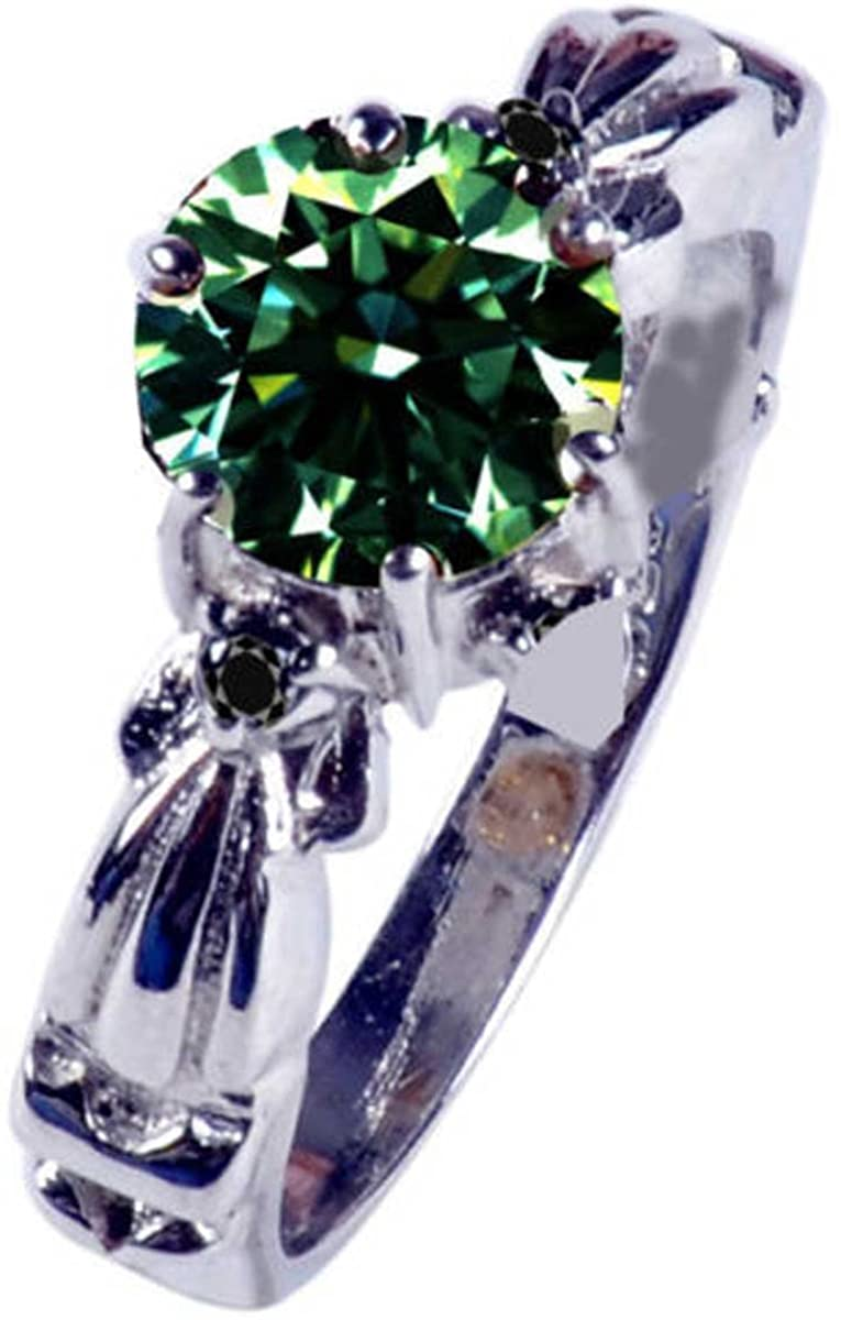 RINGJEWEL 1.36 ct Si3 Round Real Moissanite Solitaire Engagement & Wedding Ring Green Size 7.5