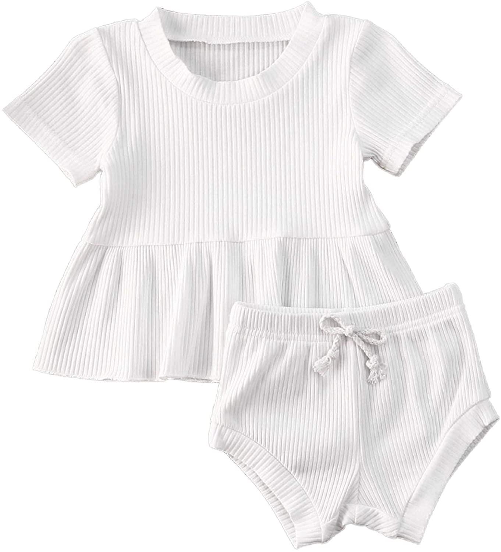 Baby Girl Ribbed 2PCS Outfits Short Sleeve Ruffle Shirt Tops PP Shorts 100% Cotton Clothes Set