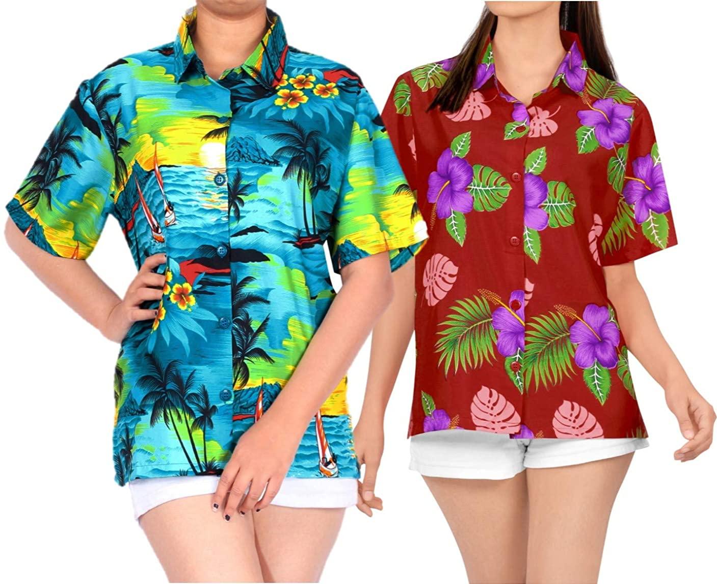 LA LEELA Women's Hawaiian Blouse Shirt Premium Casual Dress Shirt M Work from Home Clothes Women Blouse Pack of 2