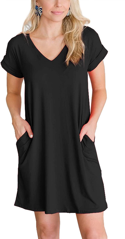 iGENJUN Womens Summer Cuffed Sleeve V Neck T Shirt Swing Dress with Pocket