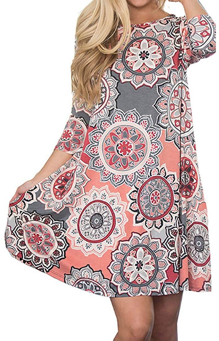 EISHOW Women's Casual Bohemian Mini Dress Floral Print O Neck Long Sleeve Pockets Casual Loose T-Shirt Boho Swing Dress