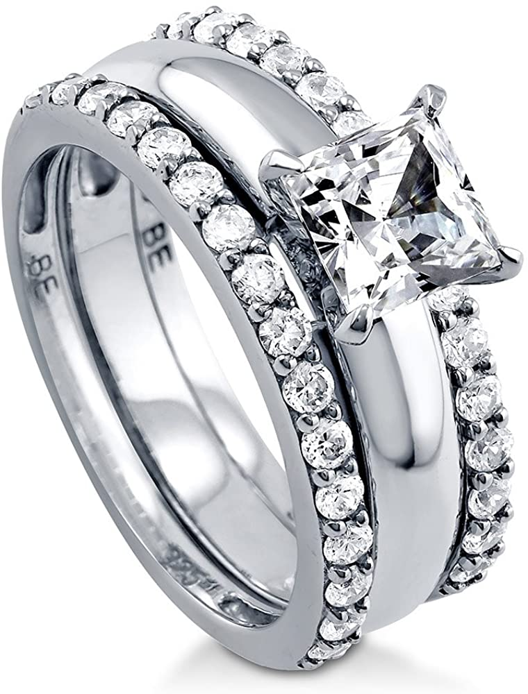 BERRICLE Rhodium Plated Sterling Silver Princess Cut Cubic Zirconia CZ Solitaire Engagement Wedding Ring Set 1.88 CTW