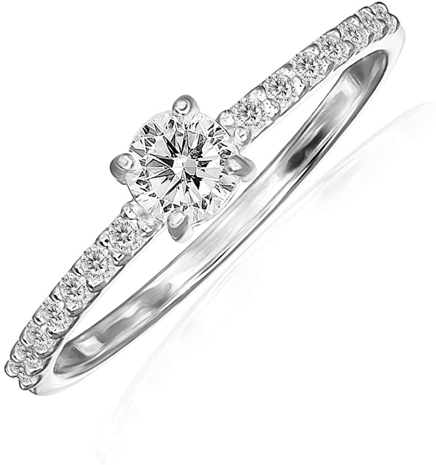 River Island Sterling Silver 4 mm Round-Cut Solitaire Cubic Zirconia Engagement Ring, Sizes 5-8 | Available in Silver, Rose and Yellow Gold