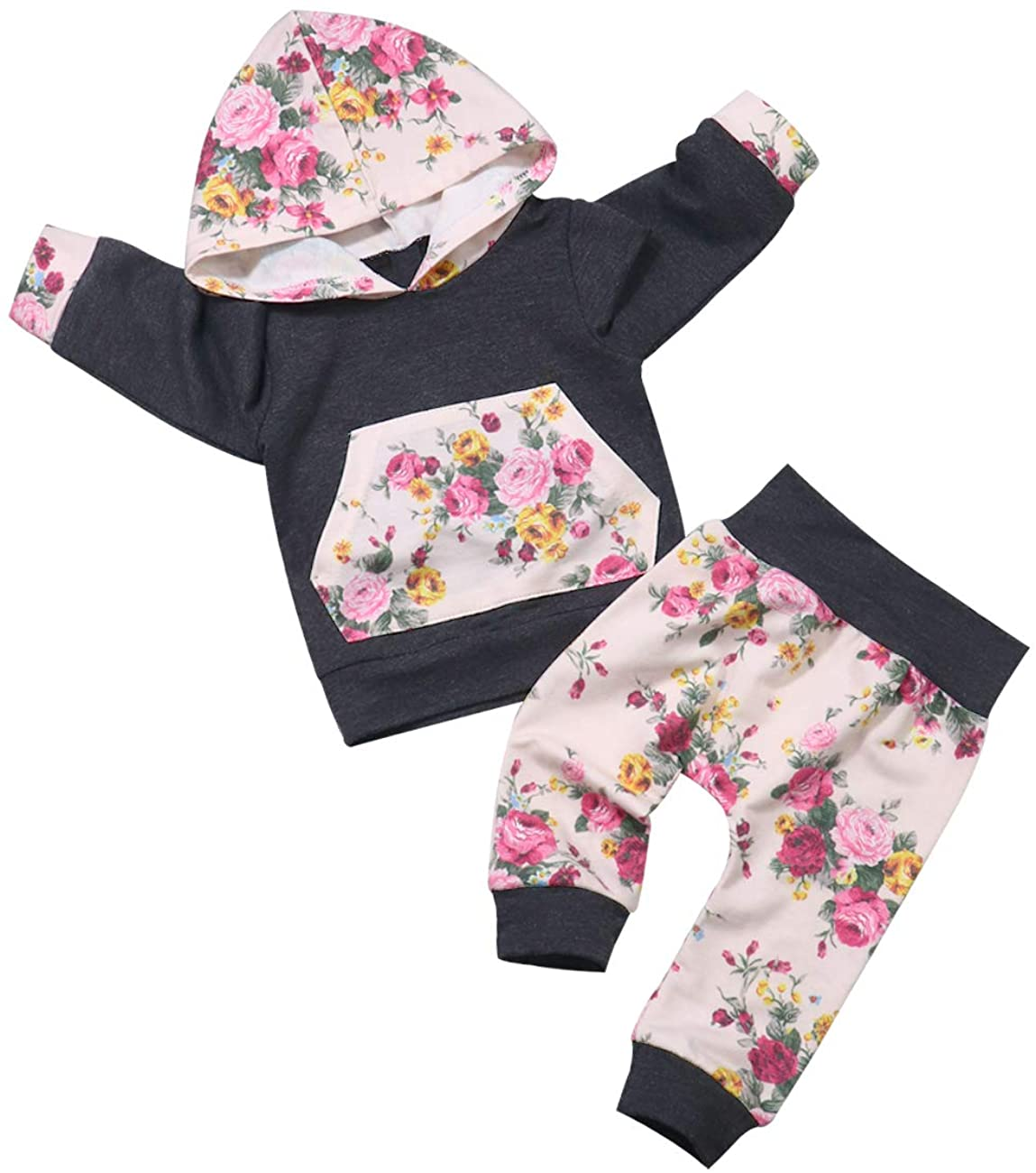 Seyouag Baby Girl Floral Hoodie Sweatshirt Long Sleeve Clothes and Stripe Pants Outfit Set