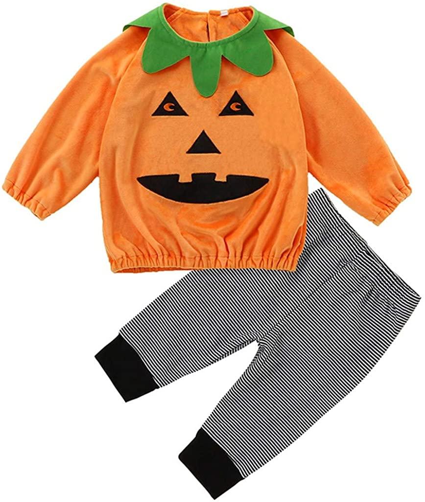 Baby Kids Boys Girls Pumpkin Halloween Full Sleeves Tops+Pants Clothing Set