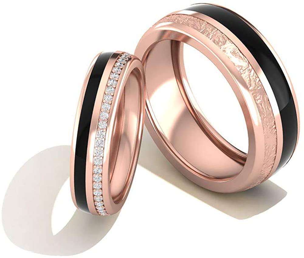 0.33 Carat Certified Diamond Couple Matching Engagement Ring, Vintage Black Enamel Solid 14k Matte Gold Wedding Ring Set, Eternity Custom Rings,14K Gold