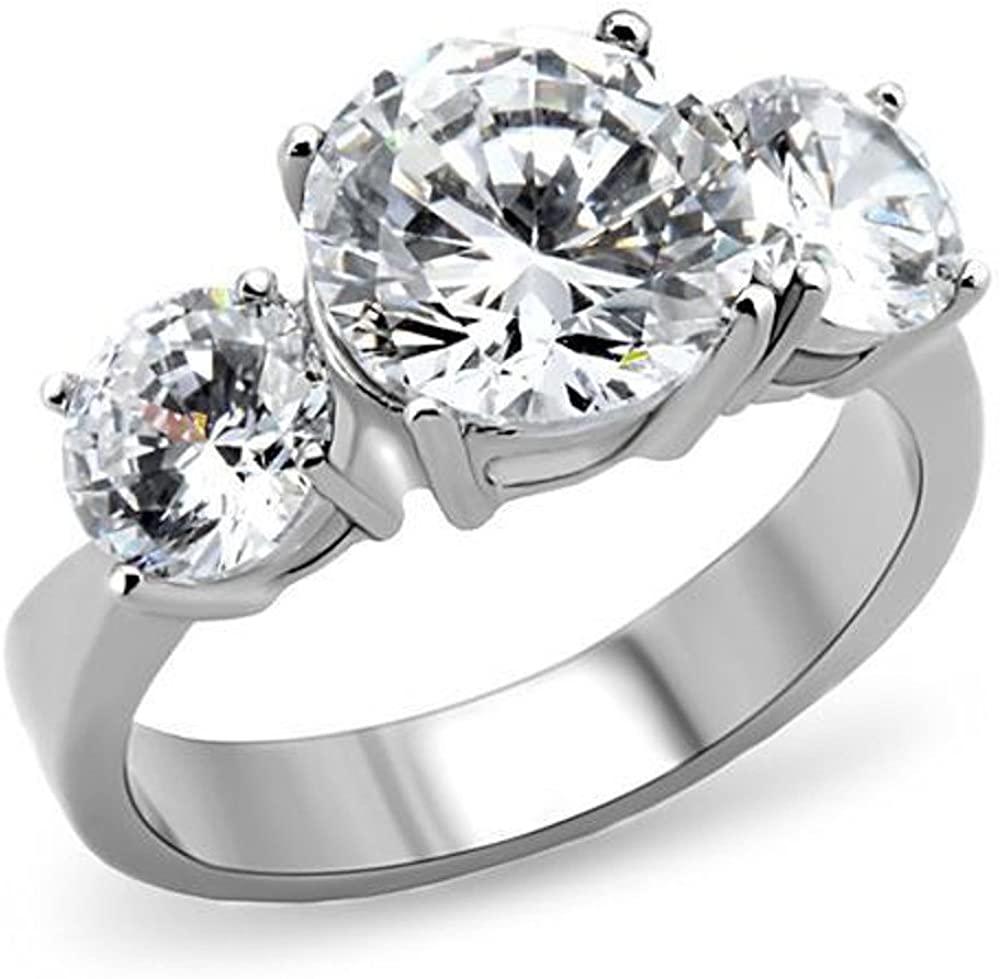 Marimor Jewelry Women's Three Stone Zirconia Stainless Steel Anniversary Engagement Ring