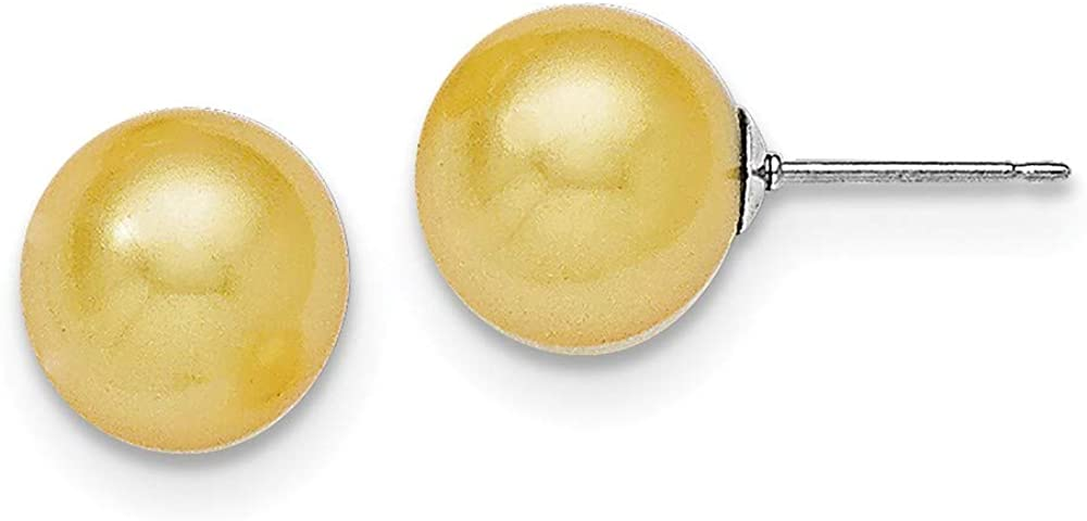 Solid 925 Sterling Silver 10-11mm Round Yellow Shell Bead Stud Earrings