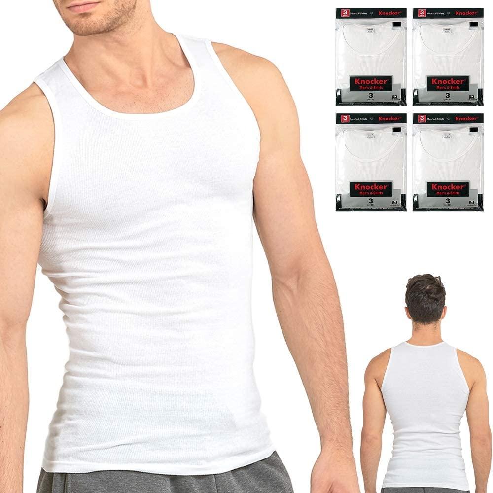 12 Lot Men Slim Muscle Tank Top T-Shirt Ribbed Sleeveless Cotton A-Shirt White S