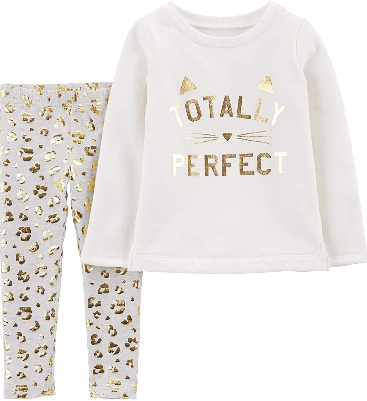 Carter's Baby Girls' 2-Piece Top and Leggings Sets (Vanilla/Leopard/Fleece, 12 Months)