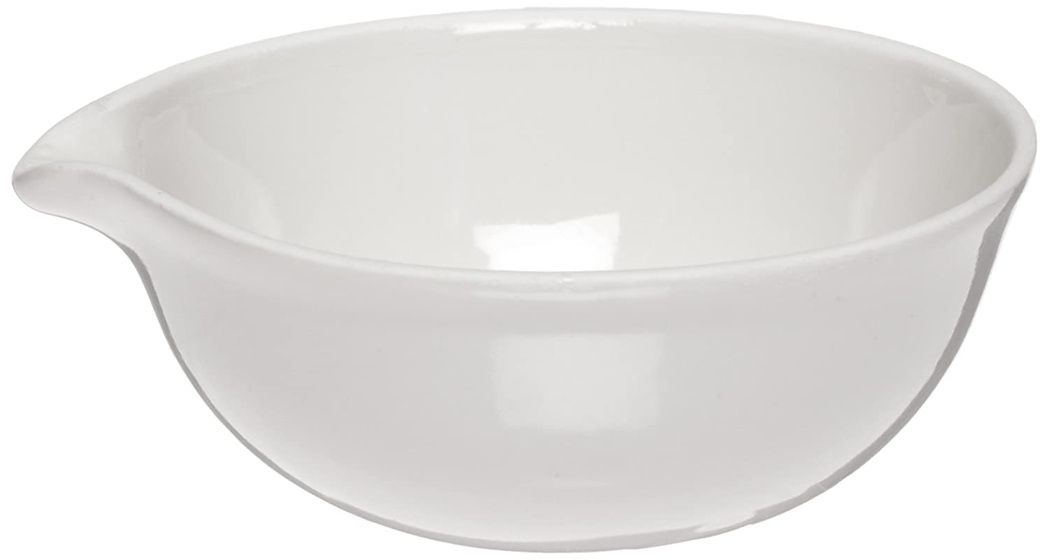 CoorsTek 60206 Porcelain Ceramic Evaporating Dish with Pouring Lip, 765mL Capacity, 185mm OD, 54mm Height (Case of 8)
