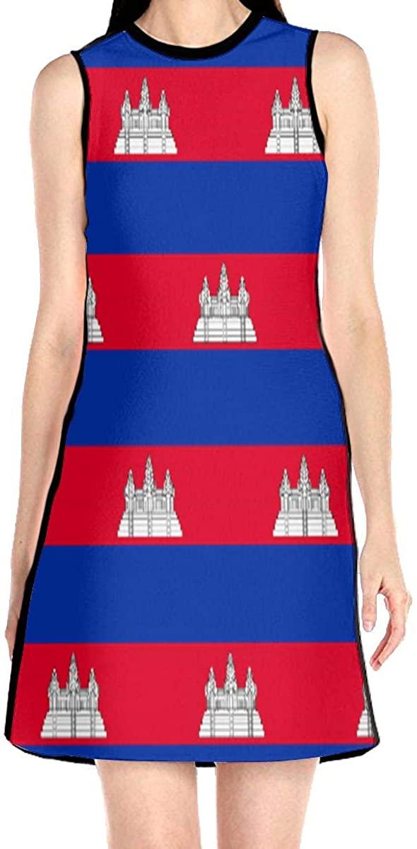 Cambodia Flag Womens Sleeveless Dress Casual Slim A-Line Dress Tank Dresses