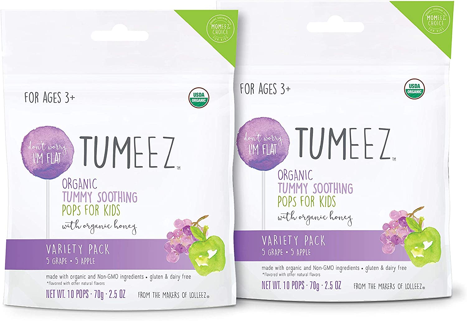 Tumeez Organic Tummy Soothing Pop for Kids (2 Pack)