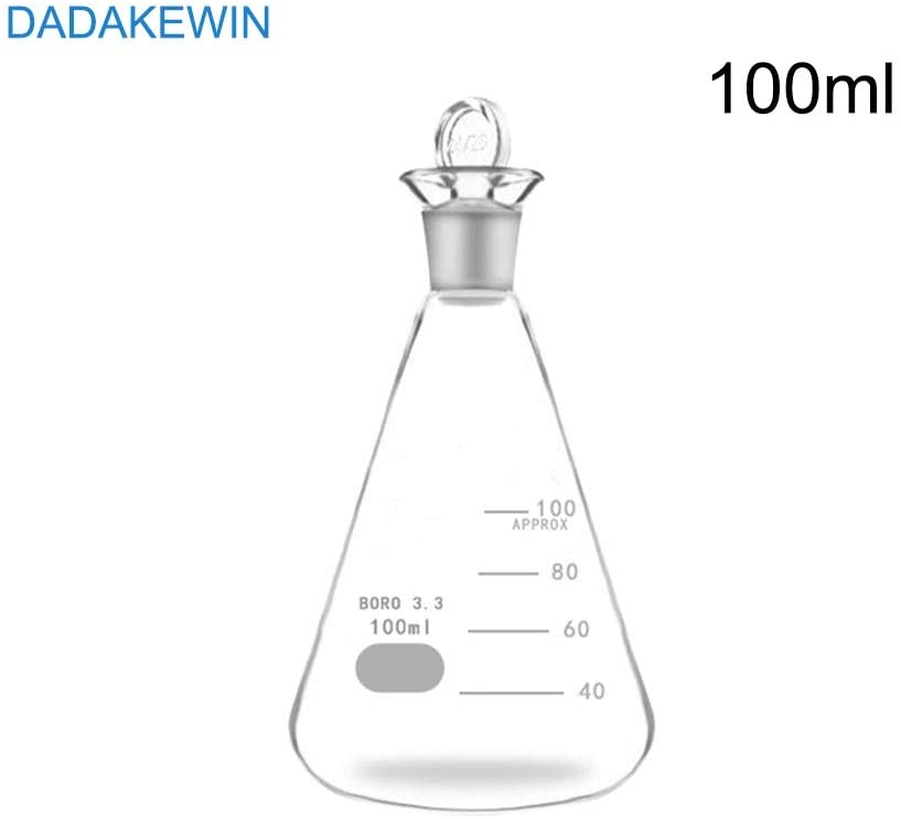 DADAKEWIN 100ml Glass Erlenmeyer Flask with Ground Glass Stopper Narrow Mouth Clear Graduated Heat Resistant Heavy Duty Reusable (Pack of 3) (Color : Clear, Size : 100ML)