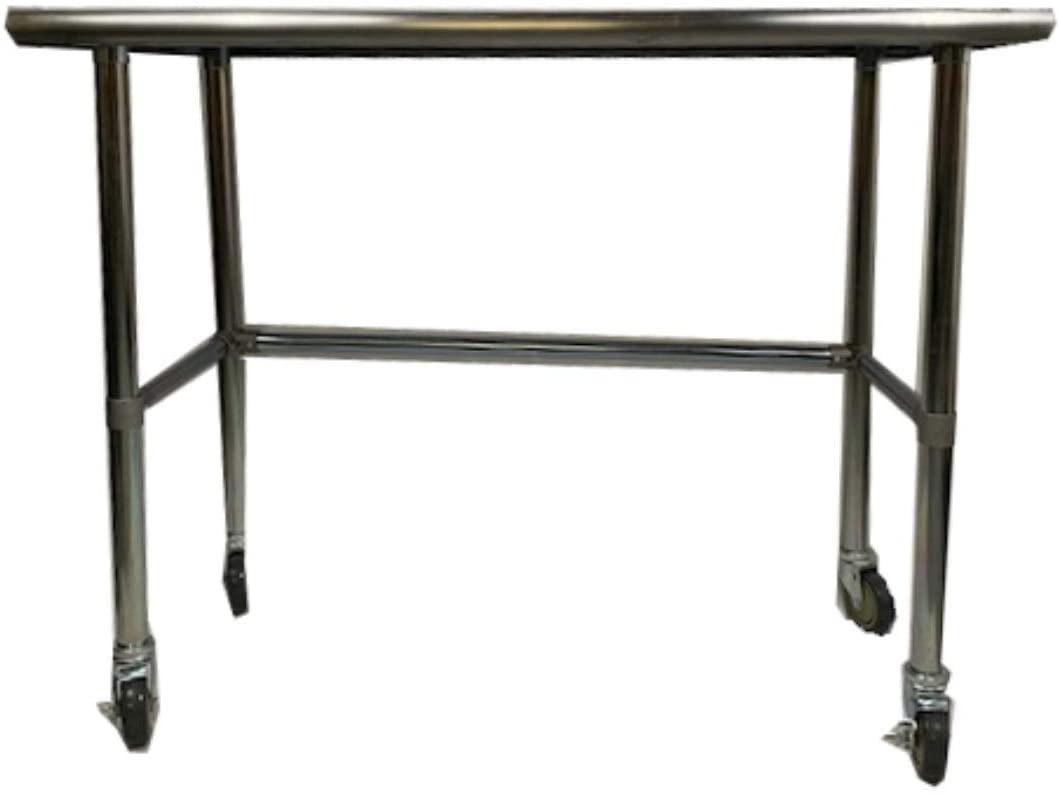 KPS Commercial Stainless Steel Work Table with Crossbar 14 x 36 with Wheels 4 Casters - NSF