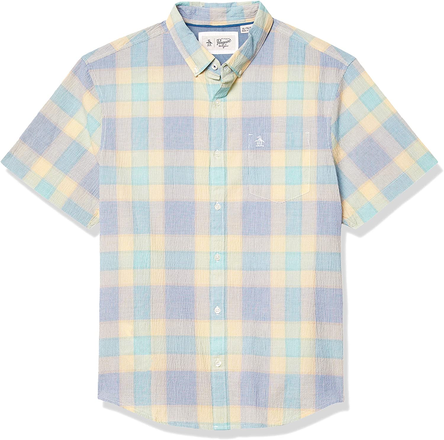 Original Penguin Men's Short Sleeve Plaid Button Down Shirt