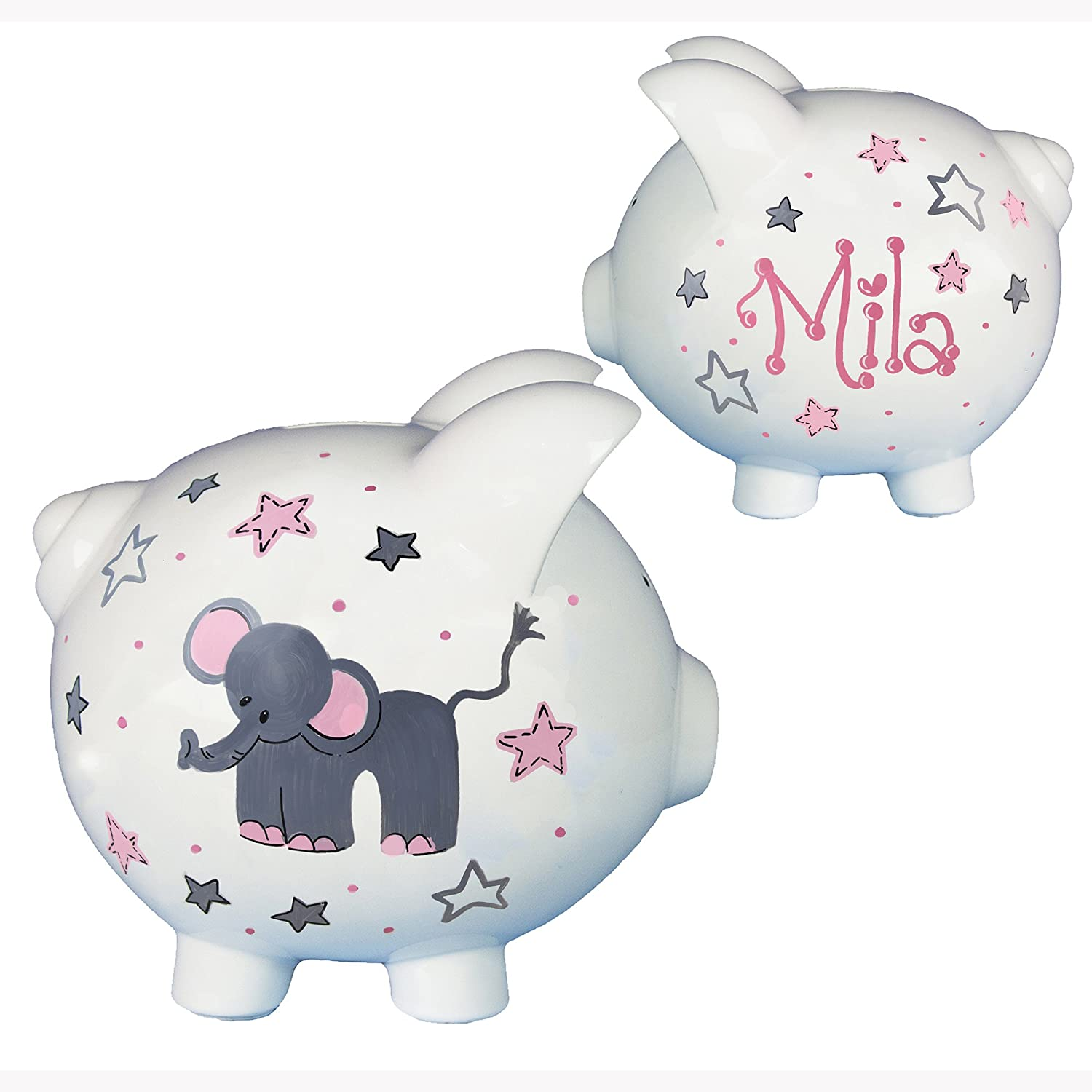 Personalized Gray Elephant Bank for Girls Hand Painted Piggy Bank Name in Pink