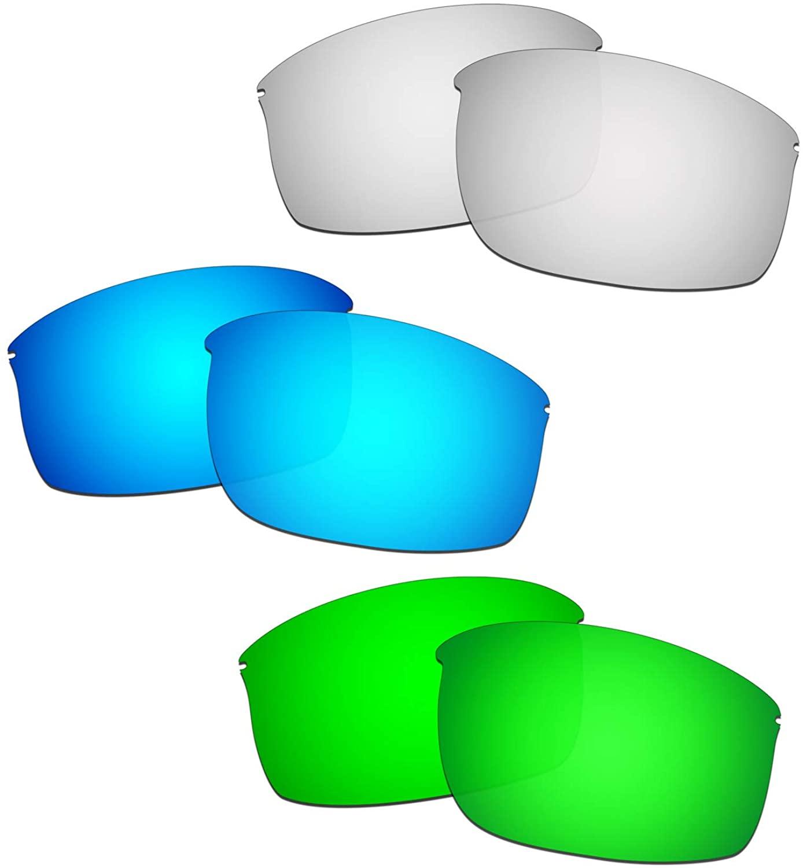 HKUCO Reinforce Replacement Lenses For Oakley Wiretap New Blue/Titanium/Emerald Green Sunglasses