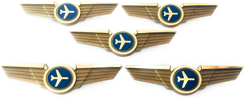 Kids Airline Pilot Wings Plastic Pins Pinbacks Badges Lot of 5 Pins Gold