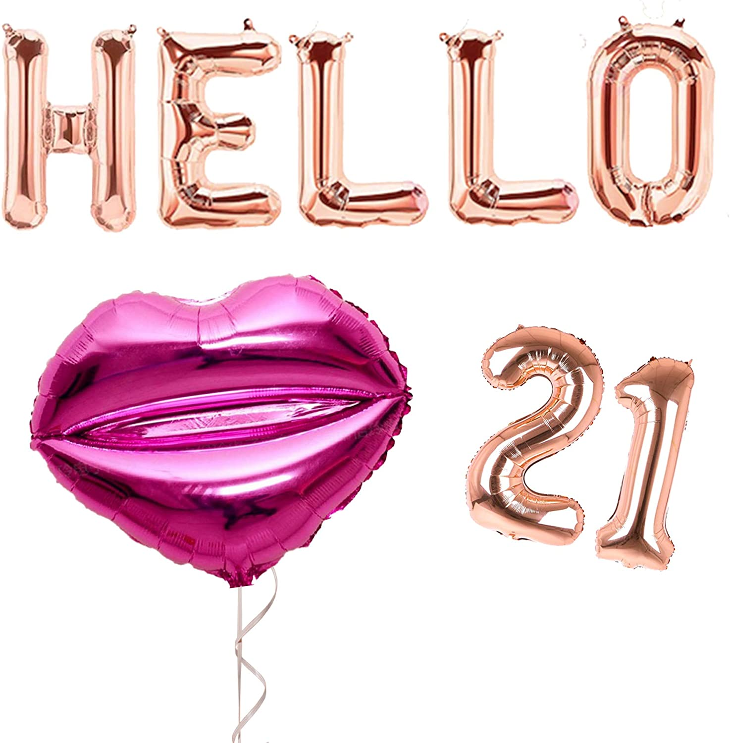 Hello 21 Birthday Decorations Rose Gold for Her | Mylar Foil Number & Letter Balloons Banner + Lips Set | Perfect Photo Booth Props or Backdrop for Womens 21st Legal AF Bday Celebration (Hello 21)