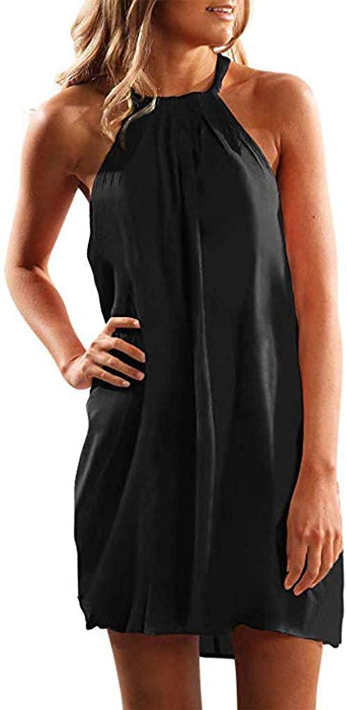 KYLEON Dresses for Women Casual Summer Tie Dye Boho Beach Mini Short Sundresses Halter Neck Sleeveless Swing Cocktail Dress