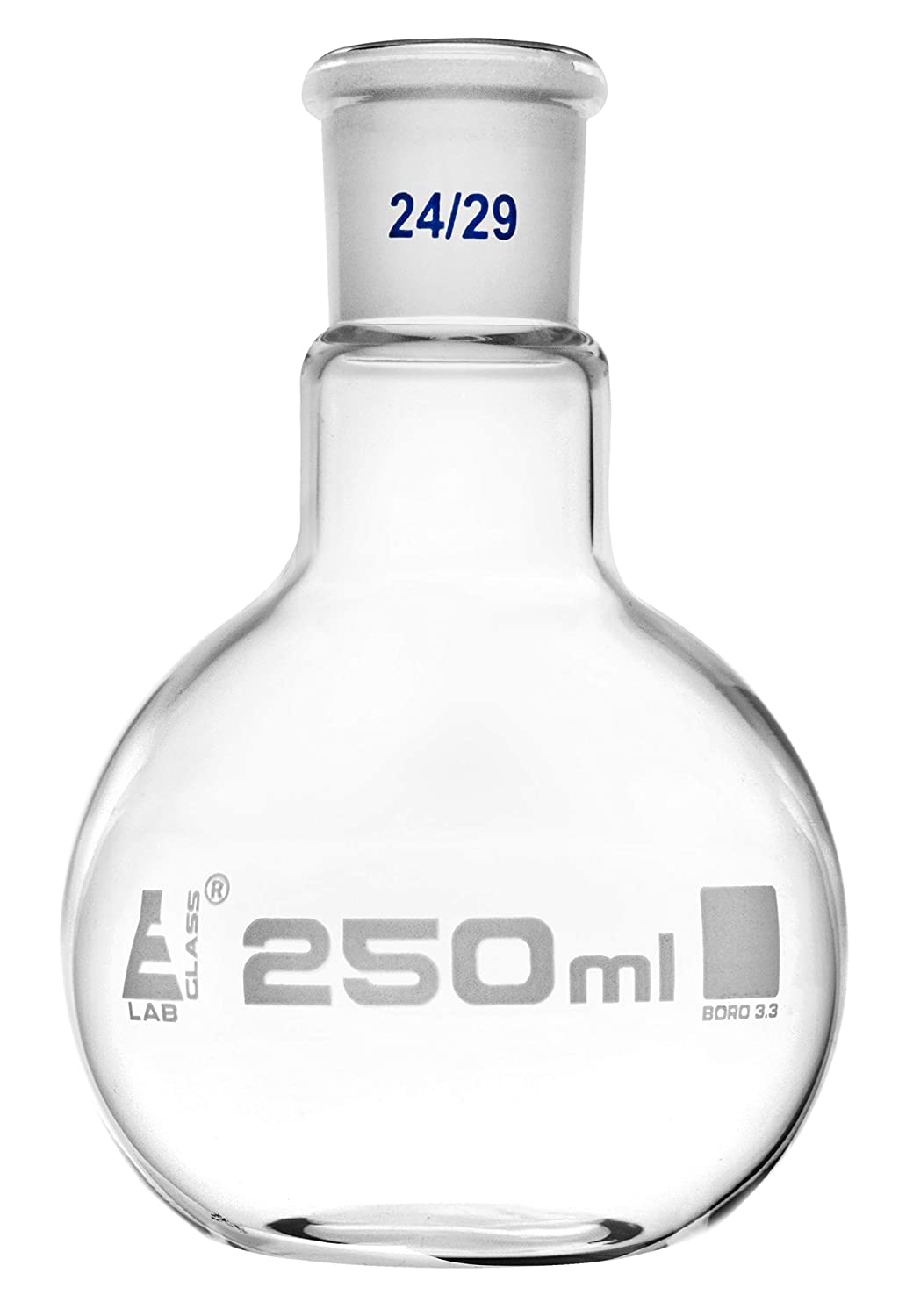 Florence Boiling Flask, 250ml - 24/29 Joint, Interchangeable - Borosilicate Glass - Flat Bottom, Short Neck - Eisco Labs