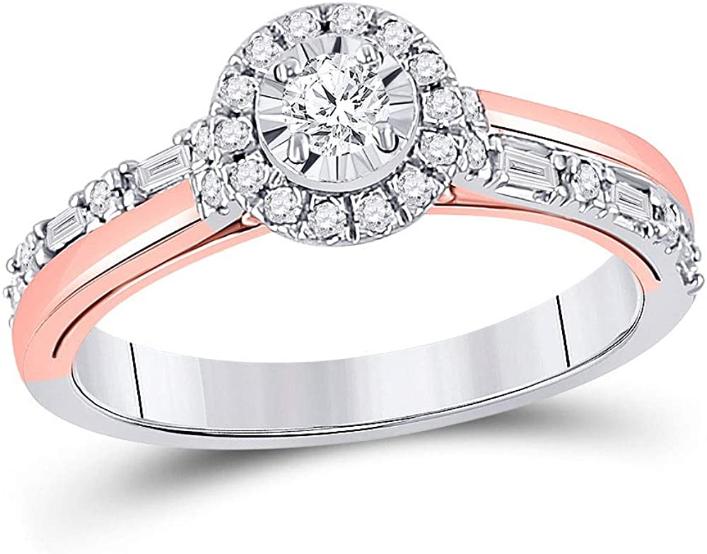Dazzlingrock Collection 10kt Two-tone Gold Round Diamond Solitaire Bridal Wedding Engagement Ring 1/2 Cttw