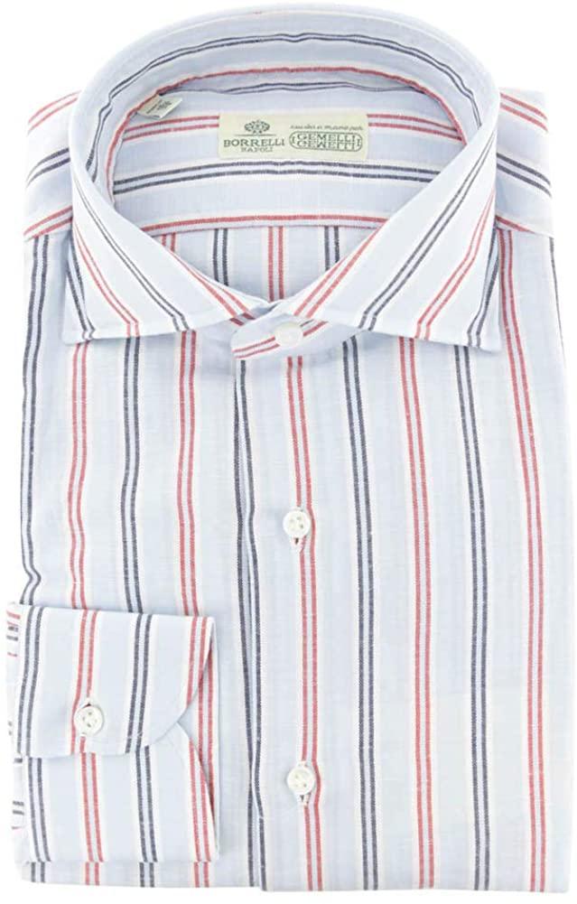 Luigi Borrelli Stripes Button Down Spread Collar Cotton Blend Slim Fit Dress Shirt