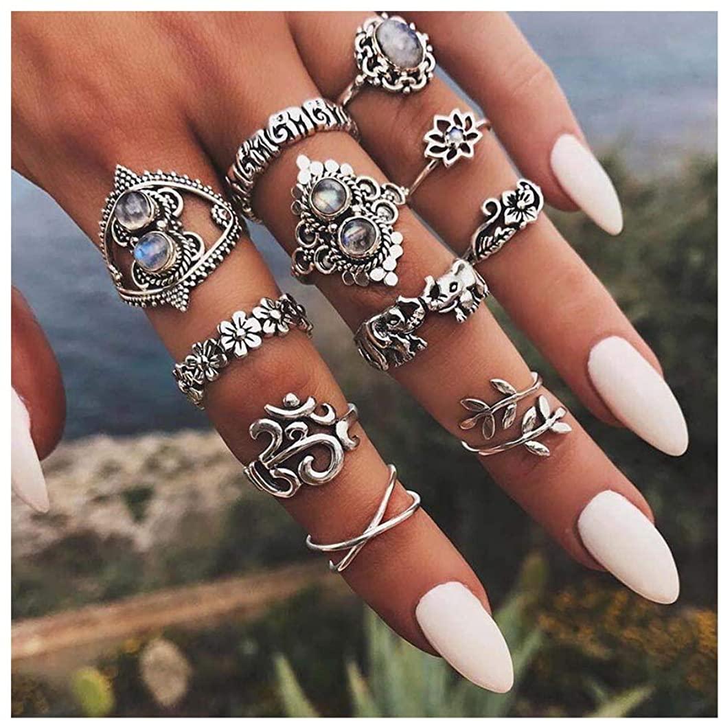 Yokawe Boho Gem Joint Knuckle Ring Set Silver Vintage Carved Flower Stacking Midi Finger Rings Crystal Elephant Ring Sets for Women and Girls (11 PCS)