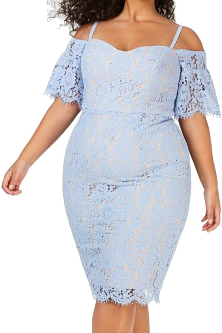 City Chic Womens Lace Whisper Off-Shoulder Dress
